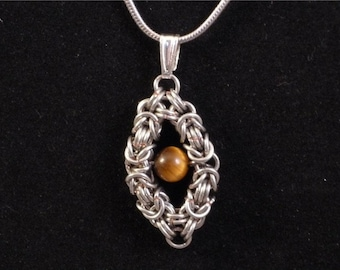 Floating Tiger Eye Pendant Byzantine Chainmaille Necklace Silver enameled copper diamond shape frame bead