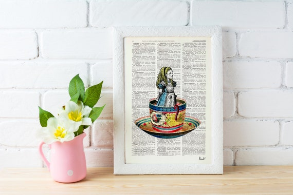 Alice in Wonderland- Alice in a tea cup- Mad hatter tea party - illustration print on dictionary, Wall hanging, ALW011
