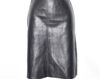 "Black Leather Office Straight Pencil High Waist Knee Length Skirt Size W28"" L22"""