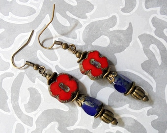 Red, Blue and Brass Ethnic Boho Earrings (3419)