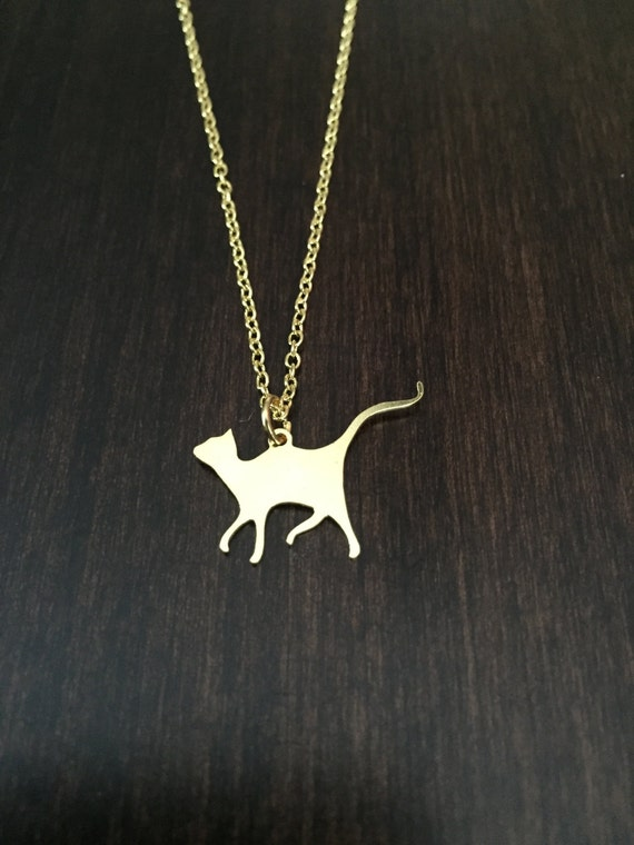 cat necklace cat jewelry cat pendant gold cat necklace