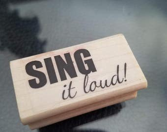 1x2.5 inches sentiment perfect for a glee club or someone who loves to sing red rubber stamp perfect for card-making or scrapbooking