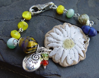 Daisy - Handmade Stoneware Daisy Cuff Bracelet and Earrings with Lampwork and Glass, Silver