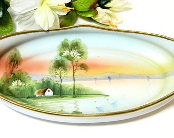 Hand Painted Nippon Scenic Relish Dish Tray