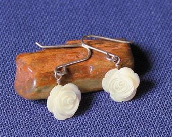 Mother of Pearl Rose Earrings, Sterling Silver & Mother of Pearl Roses, Roses, Sterling Silver Earrings, Wedding Earrings