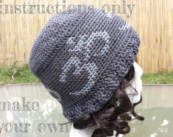 INSTRUCTIONS ONLY - Crochet your own Om Symbol Yoga Hat Tapestry Intarsia Fair Isle Chart-Based Pattern Download