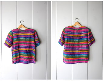 Vintage Silk Top Tribal Blouse Vintage Boxy Silk Top Short Sleeve 80s Colorful Blouse Boxy Crop Top Minimal Silk Tee Womens Medium