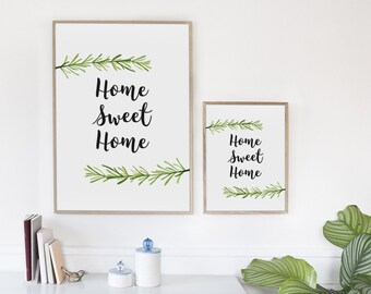 Home Sweet Home Printable, Printable Quote, Printable Home Decor Sign, Rosemary branch print