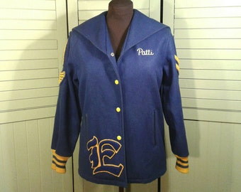 Vintage 1960s Athletic Wool Jacket Coat Blue Sweeny Sportswear Retro Sports Tommies College Swim Track Womens Size Small Teen Girls 16