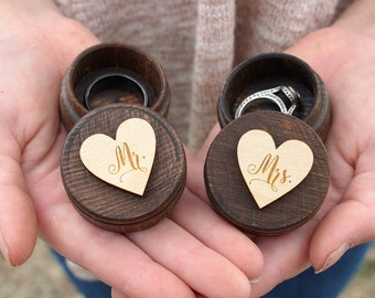 Mr and Mrs Ring Box Set | Rustic Wedding Keepsake Ring Box | Free Shipping