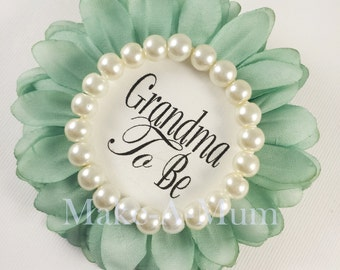 Hand-dyed MIN,T baby shower favor, Baby Shower Corsage, Mommy To be Pin,GLASS PEARLS, Grandma To Be,mINT/gTB/pEARLS