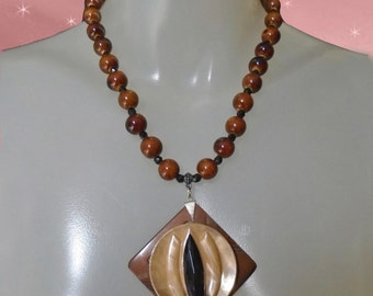 Chunky Beaded Short Necklace OOAK Handmade with Vintage Womens Brown Boho Necklace with Big Pendant Unique Womens Jewelry in Gift Box