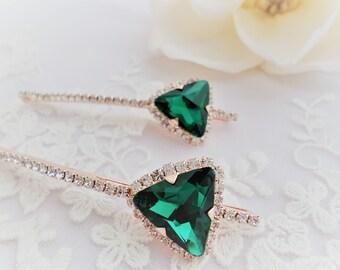 Vintage hair pins, Emerald green bridal hair pin, Green Bridal hair pin, Wedding hair pin, Bridal hair clip, Green hair pins, Green barrette
