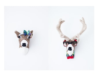Handmade Faux Taxidermy - Hipster Couple - Glasses - Deer - Stag and Doe Head Wall Art - Paper Mache and Recycled Materials