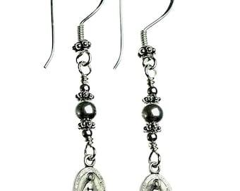 Sterling Silver Miraculous Medal Earrings