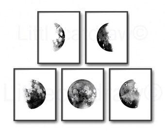 Moon Phase Print Set of 5 Art Prints Luna Bedroom Wall Decor Lunar Phases Moon Art Home Decor 5 Wall Art Prints Moon Prints Unframed