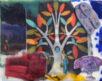 Wanderings - Original Encaustic Collage - Time Traveler Series