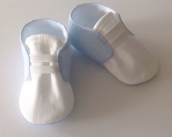 Blue & White Baby Shoes with Elastic | Newborn size up to 18 Months
