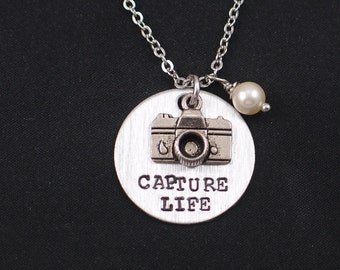 Capture Life necklace, sterling silver filled, hand stamped necklace with camera charm, Swarovski pearl of your choice, photographer gift