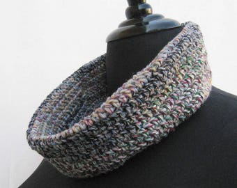 Brown cowl, crochet cowl, tan cowl, brown scarf, crochet scarf, tan scarf, chunky cowl, chunky scarf, upcycled scarf, brown neck warmer