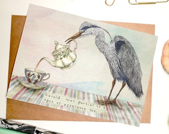 Harold the Heron A6 Greetings Card // Blank Card
