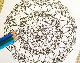 "Mandala ""Monaco"" - Hand Drawn Adult Coloring Page Print"