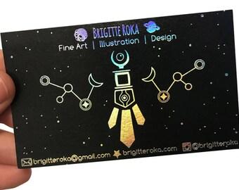 200 Business Cards - black 14PT matte stock - hologram metallic foil - custom printed