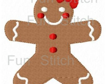 Christmas gingerbread girl machine embroidery design