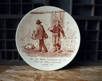 Old talking plate - french flat - XIX - Sarreguemines - ceramic