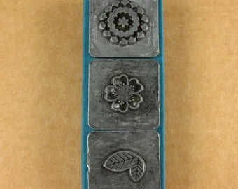 "1/2"" Mod Floral Ornamental Stamps by Melody Ross / Set of 3 / Use On Chipboard And Leather"