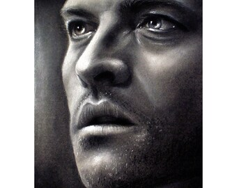 Castiel - Misha Collins - Matted 8x10 Watercolor Giclee Print - Supernatural - Realistic charcoal drawing , celebrity portrait, Cas