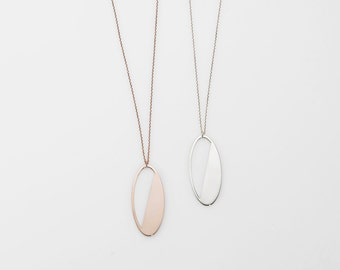 Oval Necklace, Minimalist Jewelry, Bridesmaid Wedding Gift, Personalized Necklace, Rose Gold Oval  Name Necklace, Silver Layering Necklace