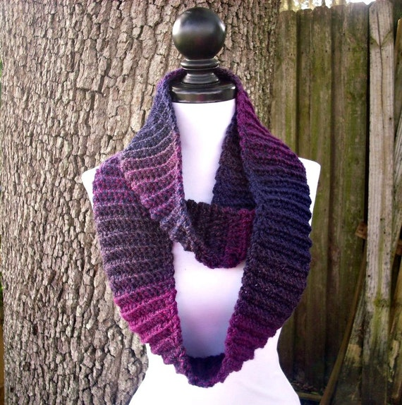 Circle Scarf Purple Infinity Scarf Crocheted Cowl Purple Scarf - Ribbed Infinity Cowl in Grape Jelly Pink Purple Cowl - Womens Accessories