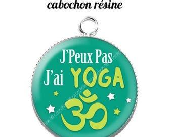 20 mm resin cabochon pendant I can't I yoga