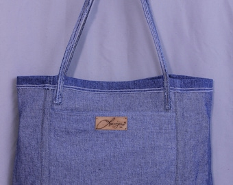 Upcycled Denim Tote Bag, Reversible