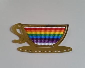 Brass Rainbow Teacup Cross Stitch