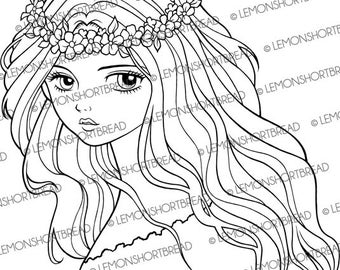 Digital Stamp Flower Headband Fairy Girl, Digi Download, Floral Nouveau, Fantasy Anime, Coloring Page, Clip Art, Scrapbooking Supplies