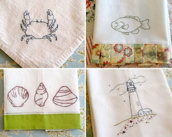 Lighthouse Sea Shells Fish Hand Embroidery PDF Pattern Set Instant Digital Download