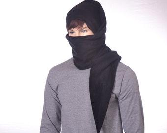 Black Ninja Long Stocking Cap Long Scarf Hat 5 ft Super Long Gothic Hero Hat Unisex Adult Men Women Balaclava Alternative Beanie