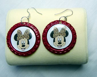 Earrings made from bottle tops and 925 sterling silver shepherd hooks. 35mm. RED MOUSE