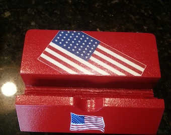 Your USA pride! Cell phone stand, business card or photo holder unique wood-crafted American flag red white & blue 4th of July Memorial Day