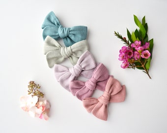 BUNDLE - 5 Solid Colored Double Gauze Mini Knotted Bows / Attached to Soft, Stretchy Nylon Headbands or Alligator Clips / Or Pigtail Sets