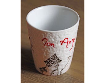 """Cup """"My Angel"""" customizable - hand painted"""