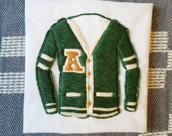 Handstitched Embroidered Green Varsity Sweater Patch