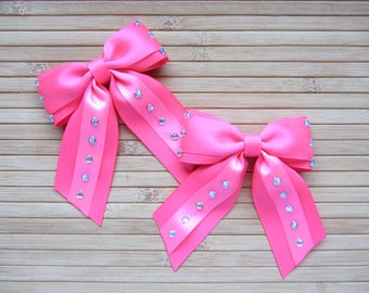 Pair of Bright Pink Rhinestone Hair Bows with Tails, Neon Pink Bows, Bubblegum Pink Bows with Tails, Pigtail Set