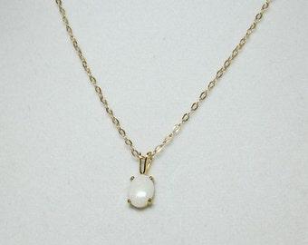 Natural Australian Opal Pendant Necklace Set In 14Kt Gold Filled Pendant 8x6mm
