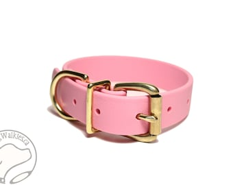 """Biothane Dog Collar - Bubblegum Pink 1"""" (25mm) Wide - Leather Look and Feel - Waterproof - Brass or Stainless Hardware - Baby Pastel Pink"""