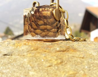 Real pine cone resin cube pendant