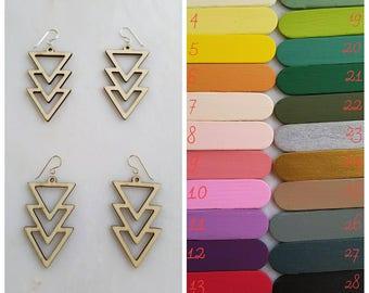 Triple Triangle Custom Painted Earring, wedding, bridesmaid, laser cut