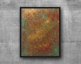 """Original Acrylic Abstract Painting - Turquoise Red Brown Gold - Contemporary Palette-Knife Art Wall Home Decor on Canvas Board 6"""" x 8"""""""